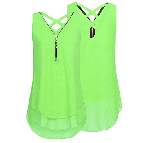 Reißverschluss Tops Elegant Bluse Damen Hemdbluse Unterhemd Minzgrün Sommer aushöhlen V Weste zurück Rovinci Unregelmäßigkeit Chiffon T Frauen Ärmellos Tank Shirt Vorne Ausschnitt YaEdPq