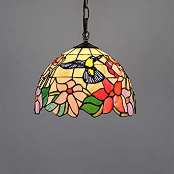 Tiffany Style Pendant Lamp, 1-Light Little Bird Stained Glass Lampshade Pendant Light, 11.8'' Ceiling Hanging Light Fixture for Dining Room Bedroom