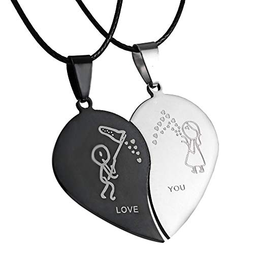 (RINHOO 2pc/Set Cat Couple Lover Pendant Necklace Stainless Steel Pet Ying Yang Friendship Puzzle Piece Matching Necklace Gift)