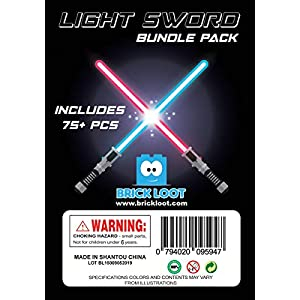 Brick Loot Light Sword Saber Star Blaster Wars Mega Accessory Pack for Minifigures Includes 75 Pieces
