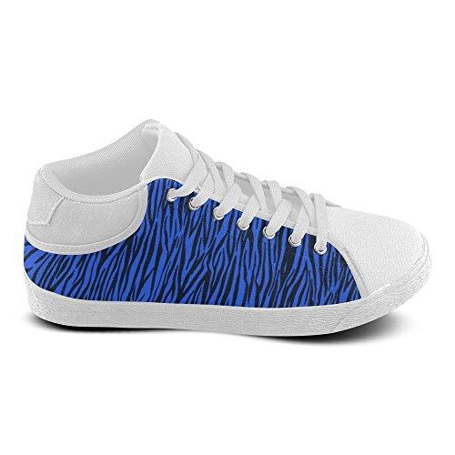 D-Story Custom Blue Zebra Stripes Womens Chukka Canvas Shoes (Model 003) 4Oe0NccJN