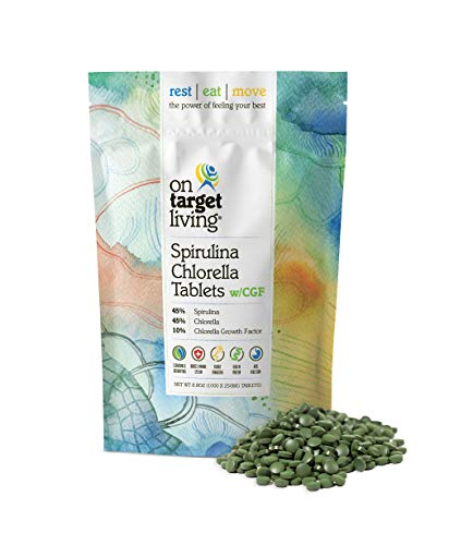 On Target Living Spirulina Chlorella 45 45 10 with CGF 1000 Tablets Vegan Boosts Immune System High in Protien Alkalyzing Nutrient Dense Detoxifying Energy Recovery
