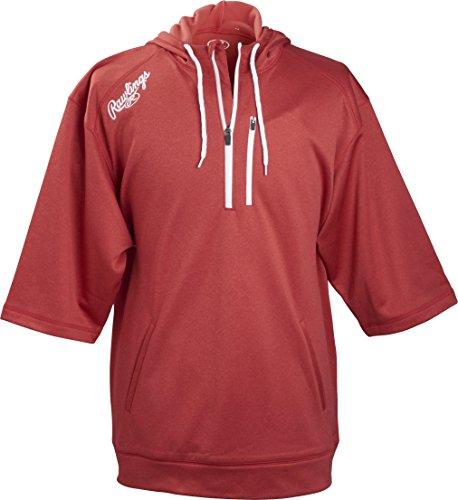 Rawlings Men's Short Sleeve Hoodie, Scarlet, 3X-Large