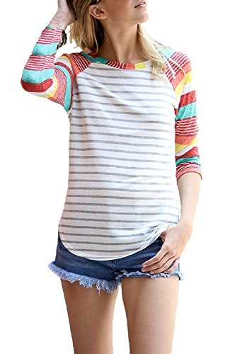 Floral Season Women's Classic Striped Splicing T-Shirt Long Sleeve Sports Pullover Tops Red Large (3/4 Shirt Sleeve Sport Sleeve Long)