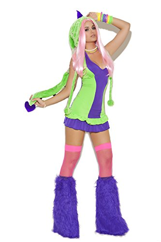 [Sexy Women's Dino Doll Dinosaur Adult Roleplay Costume, Small, Green/Purple] (Pajamas Dance Costumes)