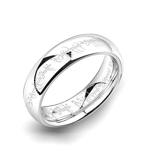 8mm Silver Tungsten Carbide Ring Lord of the Rings Laser Pattern High Polished Domed Wedding Bands (10.5)