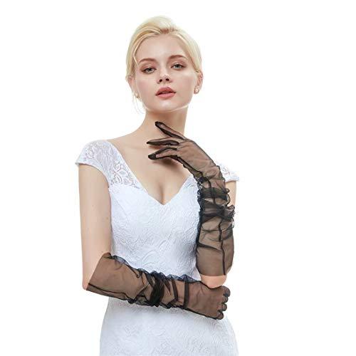 "Sunny zeyu DIY Tulle 27"" Long Gloves Lace Semi Sheer TECH Touchscreen Bridal Wedding Gloves G12 Black"
