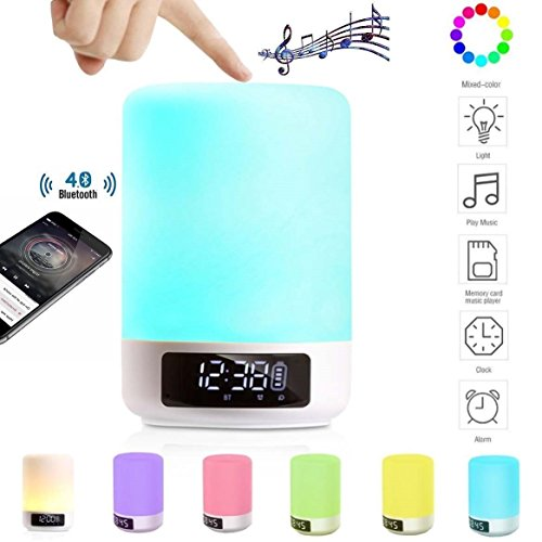Bluetooth Speaker Lamp Alarm Clock MP3 Player - DENT Products Bedside Table Desk Lamp Night Light Color Changing Touch Sensor by DENT Products