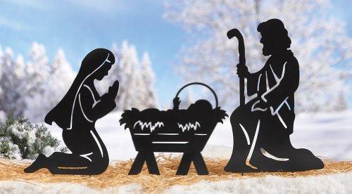 - 3 Pc Nativity Scene Silhouette Display Christmas Outdoor Decor Yard Stake Set