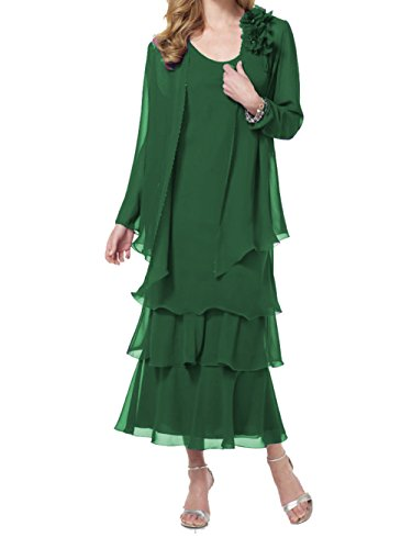 ModeC Two Piece Mother Of The Bride Dresses Womens Tea Length Chiffon Formal Gown Green US14