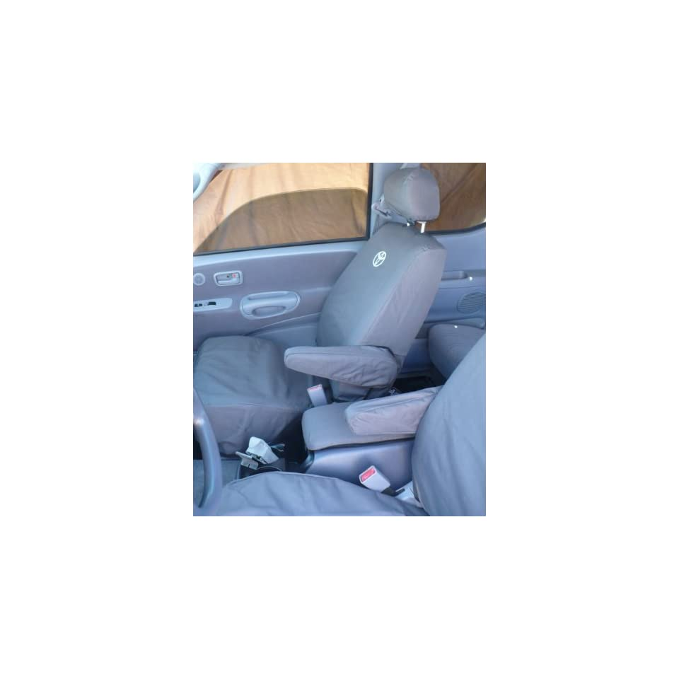 Exact Seat Covers, T785 C8 LOGO, Custom Exact Fit Seat Covers For 1999 2004 Tundra Access Cab Front Bucket Seats with Manual Controls, Gray Waterproof Endura with Logo