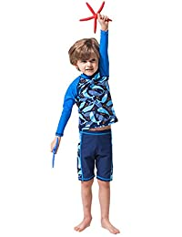Tortor 1Bacha Kid Boys' Print Long Sleeve Rash Guard Swim Trunk Set