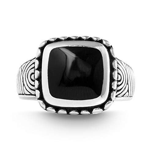 Willowbird Oxidized Sterling Silver Simulated Black Onyx Square Ring for Women (Size 7)