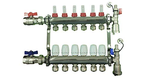 6 Loop Stainless Steel Manifold for Radiant Floor Heating with Brackets, Flow Meters and Temp Gauge