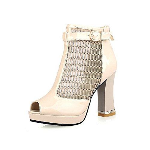 AllhqFashion Women's Peep Toe High-Heels Patent Leather Solid Zipper Sandals apricot