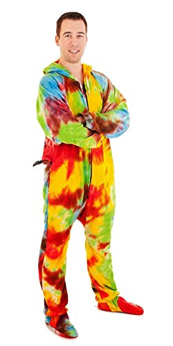 Forever Lazy Footed Adult Onesie - Trifflin' Tie Dye - XL - Mens Small Tie Dye