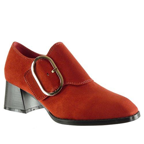 Angkorly Zapatillas de Moda Botines low boots mujer Hebilla tanga Talón Tacón ancho alto 5 CM Rojo