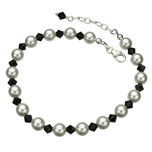 Sterling Silver Bracelet, Simulated Pearls Made with Swarovski Crystals 7
