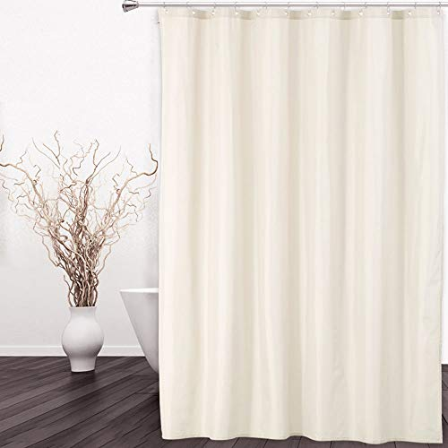 CAROMIO Hotel Quality 100% Waterproof Heavy Duty Fabric Shower Curtain Liner for Bathroom with Rustproof Metal Grommets, 72x72 Inch, Ivory