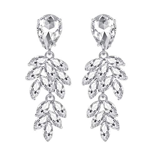 mecresh Leaf Shape Marquise Crystal Bridal Chandelier Dangle Earrings for Women Wedding in Silver Color ()