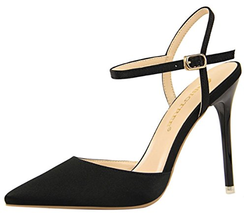 B Women's Prom Black Evening Party Court Pumps Dress DADAWEN Shoes Wedding Satin Stiletto anSWwF7