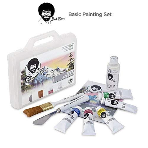 Bob Ross Basic Paint Set - 10 Piece Landscape Set With Plastic Storage and Carry Case - Landscape Brush, Paint Knife, Liquid White, and 5 Paint Tubes