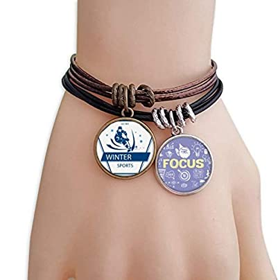 SeeParts Winter Sport Skiing Snow Illustration Bracelet Rope Wristband Force Handcrafted Jewelry Estimated Price £9.99 -