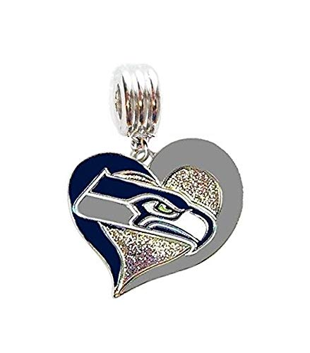 Heavens Jewelry Seattle Seahawks Football Team Heart Charm Slider Pendant for Your Necklace European Charm Bracelet (Fits Most Name Brands) DIY Projects ETC