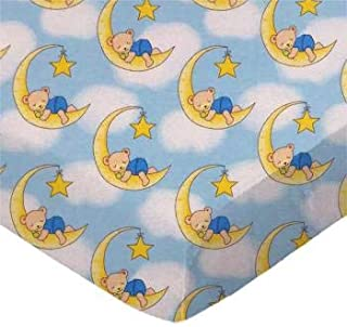 product image for SheetWorld 100% Cotton Flannel Fitted Crib Toddler Sheet 28 x 52, Sleepy Bears Blue, Made in USA
