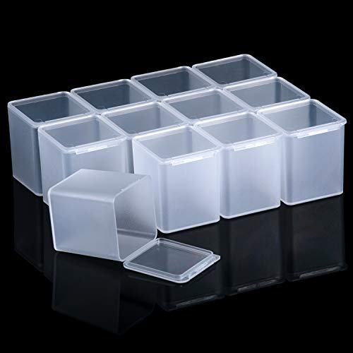SATINIOR 12 Pack Clear Plastic Beads Storage Containers Box with Hinged Lid for Beads and More(1.53 x 1.53 x 1.85 Inch)