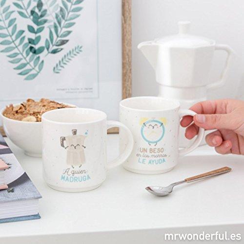 Mr. Wonderful Set de 2 tazas apilables para parejas que encajan