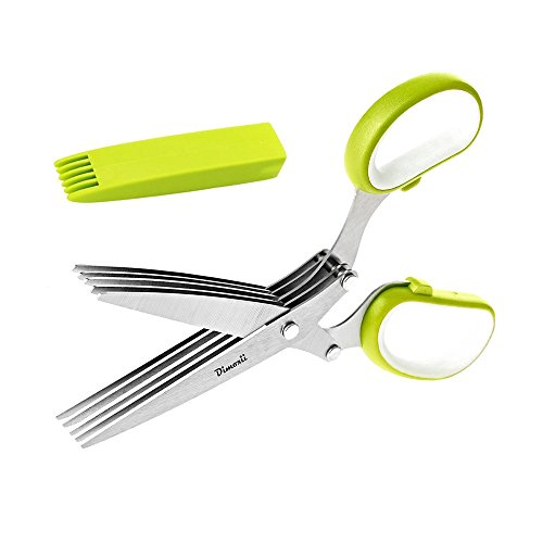 Dimoxii Herb Scissors,Multi-blades Cutting Herbal Scissors Stainless Steel with Cleaning Comb And Protective Cover for ()