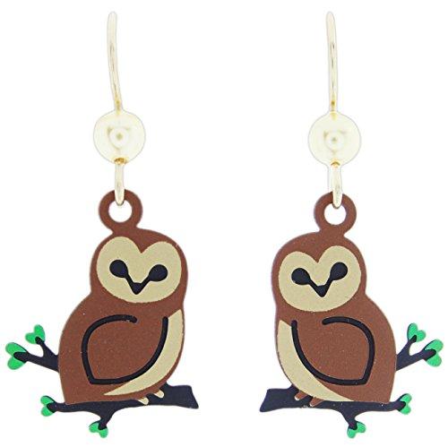 [Sienna Sky Brown Owl Dangle Earrings] (2028 Costume Jewelry)
