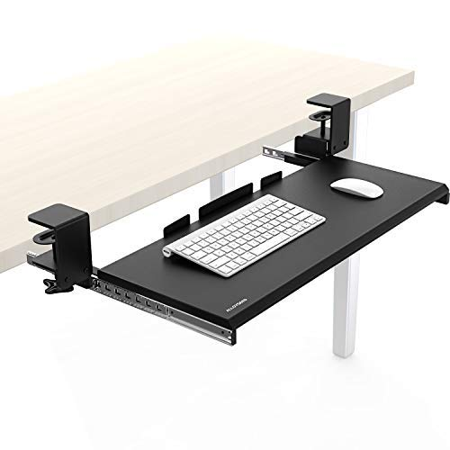 Alloyseed Under Desk Keyboard Tray, Clamp On Removable Ergonomic Keyboard and Mouse Drawer Platform (01#)