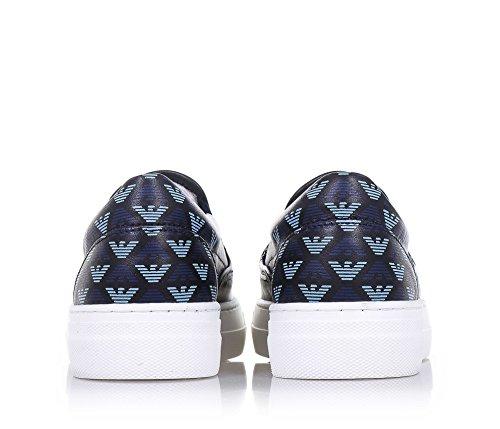 ARMANI - Slip on bleue en cuir, made in Portugal, pièces élastiques, logo à forme d'aigle sur la partie frontale, garçon, garçons