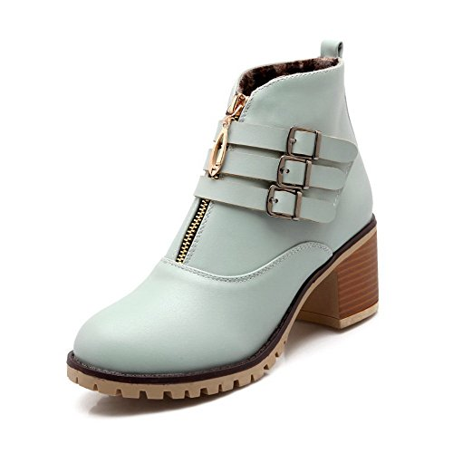 Blue PU Zipper high Heels Boots Kitten Women's AmoonyFashion Ankle Solid qUwRzz