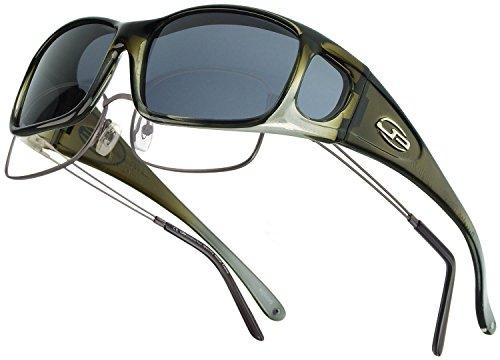 Fitovers Eyewear Razor Sunglasses with Swarovski Elements on temples, Olive Charcoal, Polarvue - Prescription Sunglasses Golf Reviews