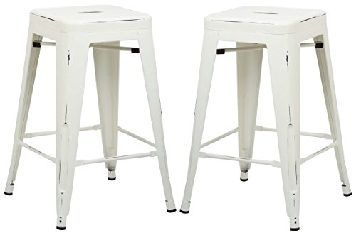 Poly and Bark Trattoria 24 Counter Height Stool in Distressed White (Set of 2)