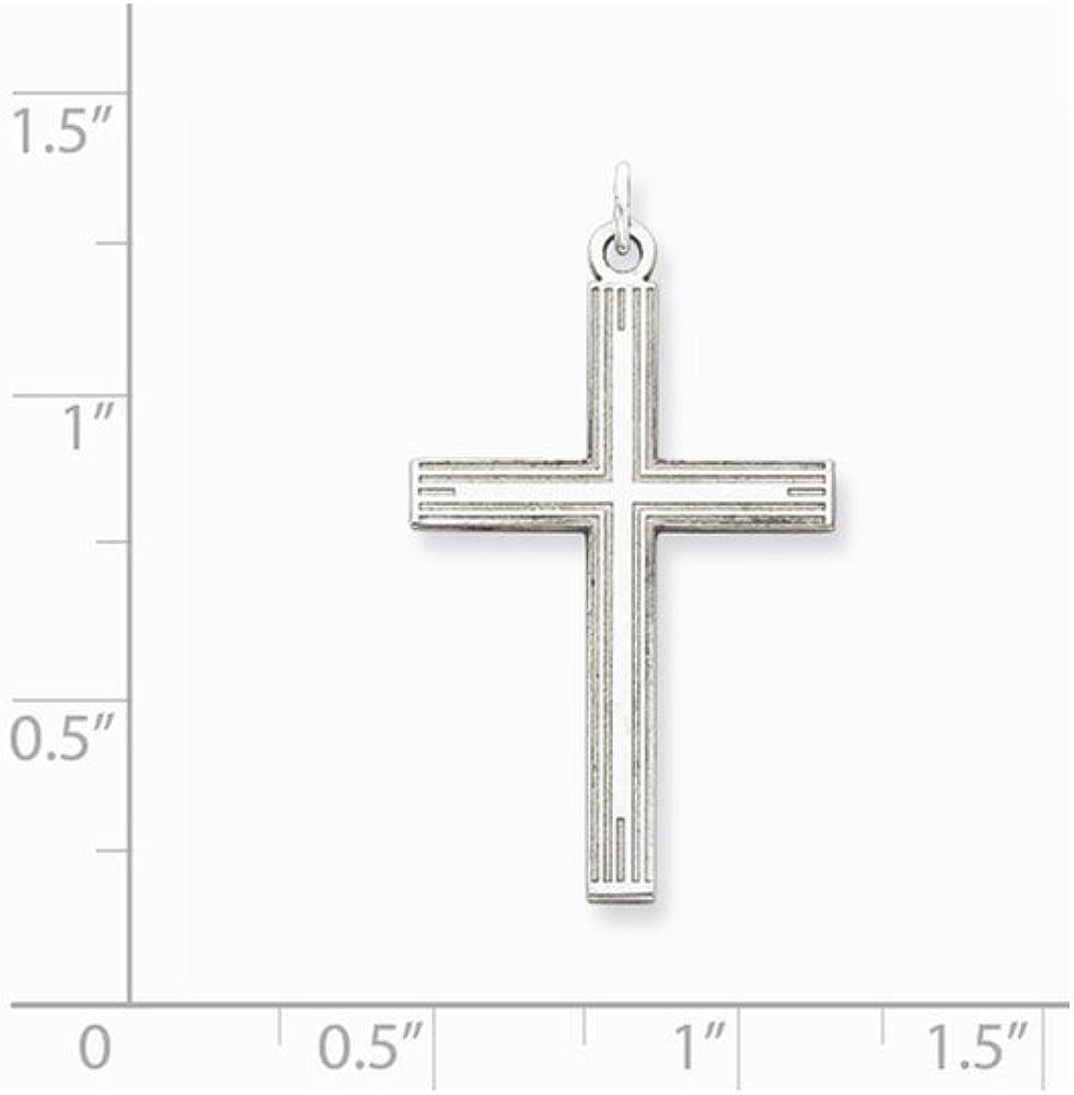 1.18 in x 0.67 in Sterling Silver Laser Designed Cross Pendant