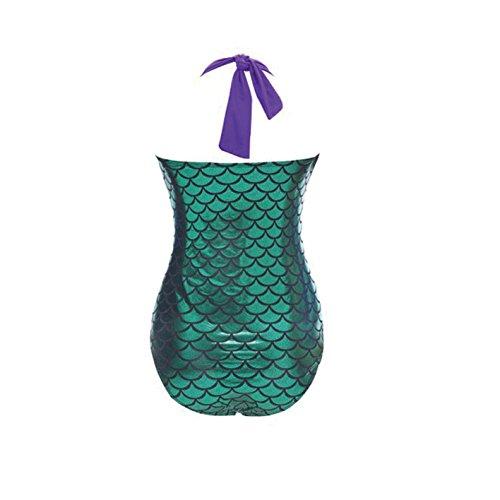 Lora Dew(TM) Traje de baño de una pieza del tamaño de la sirena del bikini extra grande de las mujeres acolchada Monokini Negro