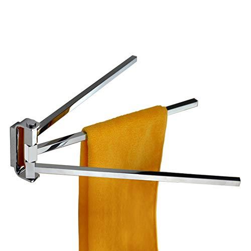 Be&xn 14 inch Wall-Mounted Swivel Bars, Bathroom Copper Chrome Towel Rack Hanger Holder Organizer (3-arm)-Silvery diameter35cm(14inch)