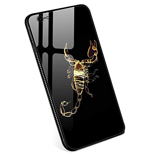 Scorpion 6 Cell - iPhone 6 Plus Cases for Boys Girls Men and Womens, Gold Scorpion Tempered Glass iPhone 6s Plus Case Fashion Personality Printing Mobile Phone Shell Black Cover Case for iPhone 6/6s Plus