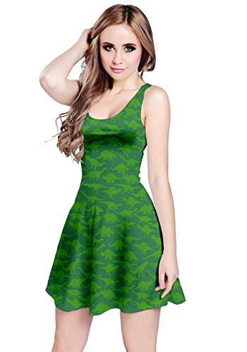 CowCow Womens Forest Green A Pattern Dinosaur Silhouettes, Forest Green - ()