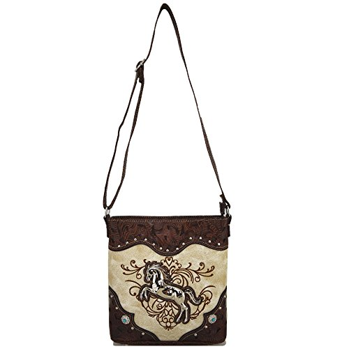 Shoulder Cross Horse Country Concealed Beige Handbags Women Cowgirl Body Purses Bag Western Single Style Carry w7gSq47F