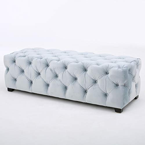 Christopher Knight Home 298424 Provence Light Grey Tufted Velvet Fabric Rectangle Ottoman Bench