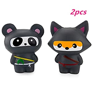 Squishies Slow Rising Toy? Ninja Panda and Ninja Fox Kawaii Slow Rising Animals Toys- Squishys Stress Relief ToyBoys and Girls