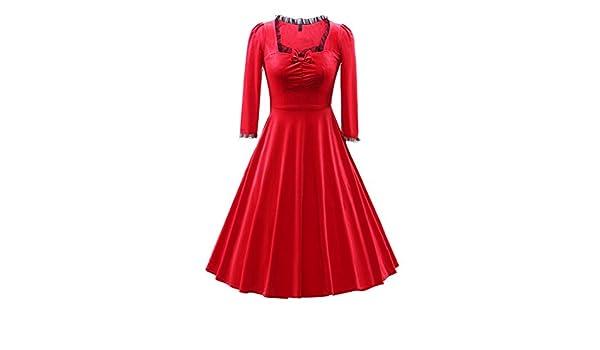LaoZan Vestido para Mujer Terciopelo Elegante Vintage Vestido de Swing Vestidos de Cóctel Vestido Largo plisado Para otoño y invierno XXL Rojo: Amazon.es: ...