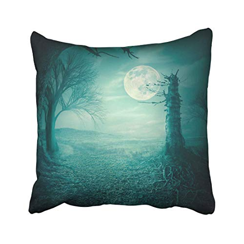 Emvency Blue Field Mystical Autumn Forest with Dead Trees and Roots at Moody Full Moon Night Halloween Scary Teal Throw Pillow Covers 20x20 Inch Decorative Cover Pillowcase Cases Case Two Side