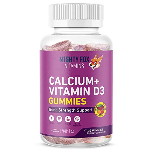 Calcium + Vitamin D3 Gummies for Kids - Builds Strong Muscles, Bones and Teeth with Delicious Naturally Flavored Gummy Vitamins (30 Day Supply)