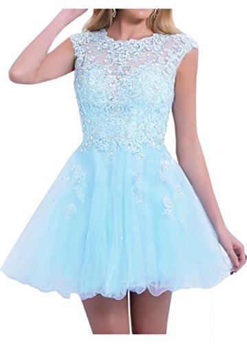 Charmant Damen Romantisch Blau Spitz Tuell Cocktailkleider Partykleider Promkleider Mini A-linie Rock